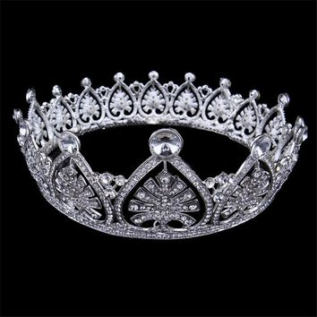 New Wedding Full Crystal Rhinestone Large Tiara Cosplay Costume Crown