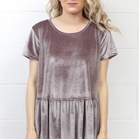 Gotta Crush Velvet Relaxed Peplum {Pearl Grey}