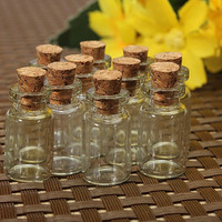 10 Cute Mini Cork Stopper Glass Bottles Vials Jars Containers (Size: 2ml) = 1932761924