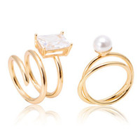 Golden Twist Faux Pearl And Diamante Ring Pack