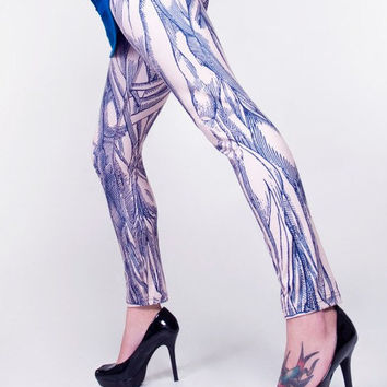 Anatomical Leggings - Hand Printed Vintage Medical Illustrations of Muscle Structure - Blue