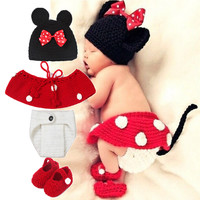 Fashion So cute baby costume photography set kintting baby hat bow bonnet enfant photography baby props newborn crochet outfits