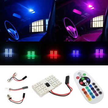 16 Colors Remote Control 5050 SMD Panel LED Car T10 BA9S Festoon Dome Interior Lamp W5W C5W T4W Bulbs Car Light Source Parking