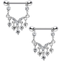 Clear Gem Victorian Vision Dangle Nipple Ring Set