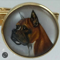 14k Gold Essex Crystal Boxer Cufflinks Reverse Intaglio Dog Cuff Links Rock Crystal Hand Painted Mother of Pearl Enamel