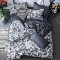 Sookie 3/4pcs Bedding Set Pink Blue Geometric Bedding Duvet Covers Pillowcases Fashion King Queen Size Bed Set for Home Decor