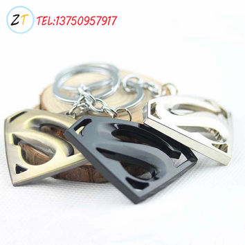Superman Silver Plated Superhero Keychain