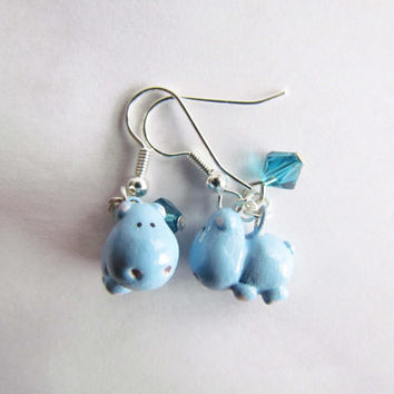 Hippo Earrings, Hippo Polymer Clay, Hippo Sculpey, Dangle Earrings, Hippo Jewelry, Animal Jewelry, Fox Jewellery, Handmade Hippo, Blue Hippo