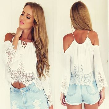 Women Fashion Summer Woman Mini Crop Tops Lace Sexy Casual Cover-ups Female Short Camis Off Shoulder Shirt