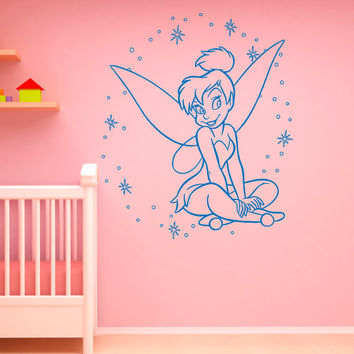 Tinkerbell Wall Decals Disney Princess Silhouette Fairy Girl Peter Pan Decal Wall Stickers Baby Nursery Wall Art Kids Room Decor  Q065