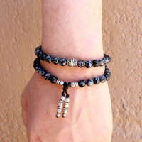 Courage, obsydian gemstone 54 bead wrap mala bracelet