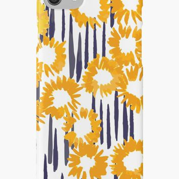 'Field of gold | Abstract pattern in yellow and indigo blue' iPhone Case/Skin by Foxeye Daisy