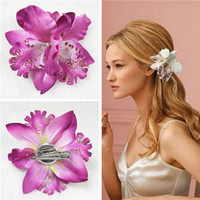 lackingone & hot sale Bohemia Orchid Peony Flowers Hair Clips Hairpin Corsage Headwear Fashion Accessories