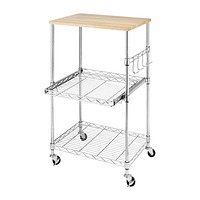 Sturdy Metal Kitchen Microwave Cart with Adjustable Shelves & Locking Wheels