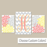 YELLOW PINK Gray Nursery Wall Art, CANVAS or Prints, Personalized Monogram, Baby Girl Nursery Wall Art, Set of 3 Above Crib Decor Art