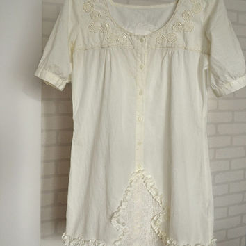 upcycled clothing, cotton dress, ecru dress, lace, romantic style, shabby chic, lace vintage