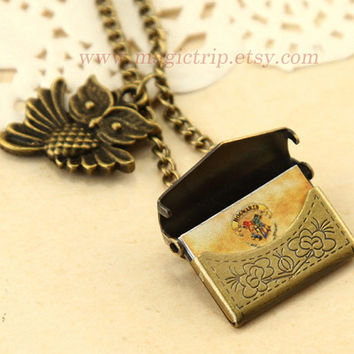 Harry Potter Necklace- Harry Potter Jewelry- Owl Post Necklace with Hogwarts Acceptance Letter pendant locket necklace