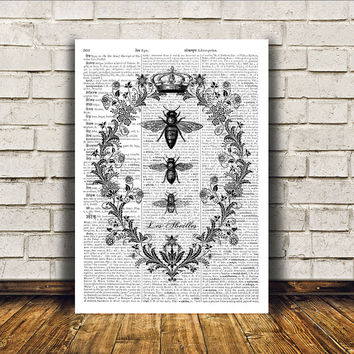 Modern decor Bees poster Dictionary print Insect art RTA66