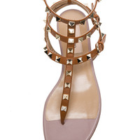 Rockstud Leather Sandals T.05 in Light Cuir