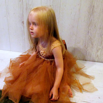 Brown tutu baby dress, toddler tulle dress, brown flower girl dress, crochet tulle dress
