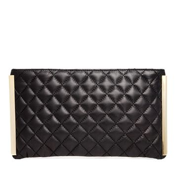 ASOS Leather Quilted Clutch Bag with Gold Bars
