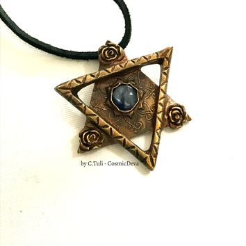Star of David Necklace, Blue Kyanite Star of David, Bronze
