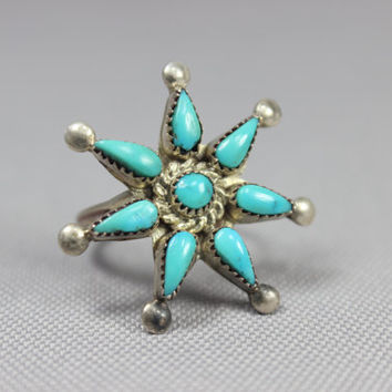 Star Burst Ring Southwest Vintage Sterling Silver Turquoise Ring