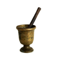Antique Mortar and Pestle HEAVY brass herb grinder Apothecary bowl solid metal muddler Spice crushing tool Primitive kitchen home decor gift