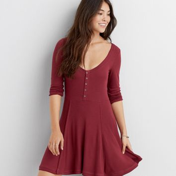 AEO RIBBED FIT & FLARE DRESS