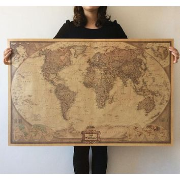 Vintage Retro Paper Globe World Map Poster Wall Chart Home Decor 71x46cm 100x66cm