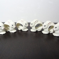 Vintage Set of 6 Bunny Shaped Ceramic Napkin Rings - Easter/Spring Table Setting