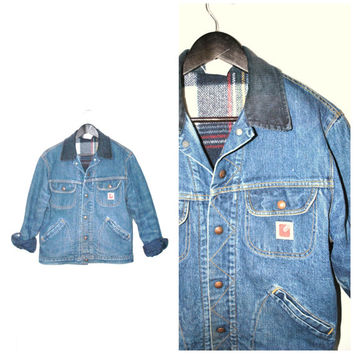 Mens RETRO insulated denim jacket / vintage 1970s wool PLAID flannel courderoy collar GWG lumberjack jean coat