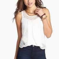 Robin K Lace Inset High/Low Tank (Juniors) | Nordstrom