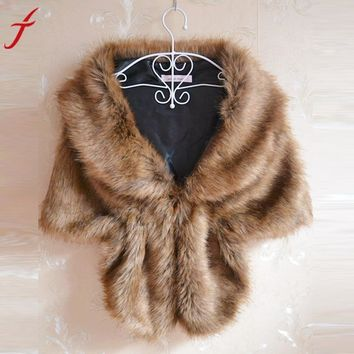 145*30cm Fashion Elegant Warm Scarf Women Bridal Wedding Faux Fur Long Shawl Stole Wrap Shrug Scarves Shawl Wrap #LSN