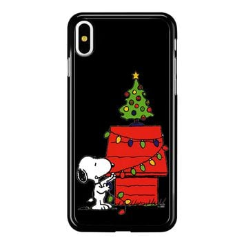 Snoopy And Christmas Tree - Black iPhone X Case