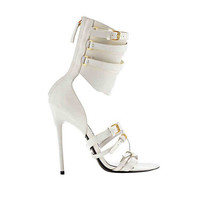 New Tom Ford Gladiator Triple-Buckle Ivory Leather Sandals 36 - 6