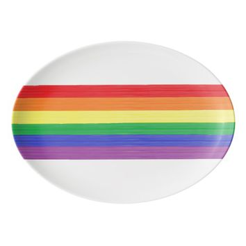 Painted Rainbow Flag Porcelain Serving Platter