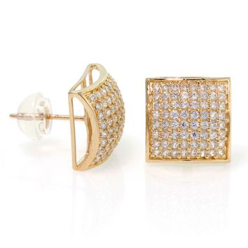 14k Gold, Square Dome Shape 10mm Men CZ Stud Earrings With Micro Pave Setting