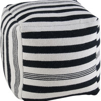 "Contemporary Black/White Pouf (20""x20""x20"")"