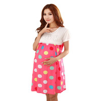 Colorful dots Pink casual dress for pregnant clothes summer maternity wear nursing clothes for pregnancy breast feeding clothing