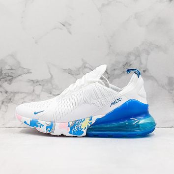 Nike Air Max 270 White/ Blue Graffiti Sport Running Shoes - Best Online Sale