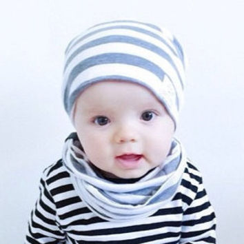 Baby slouchy beanie/ Gray striped slouch beanie/ Toddler boy