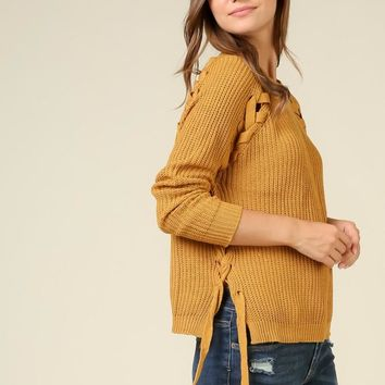 Sweater With Lace Up Details on Sides - Mustard