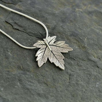 Silver sycamore leaf pendant handmade from wildsilverjewellery on silver sycamore leaf pendant handmade recycled fine silver jewellery pmc silver clay necklace aloadofball Image collections