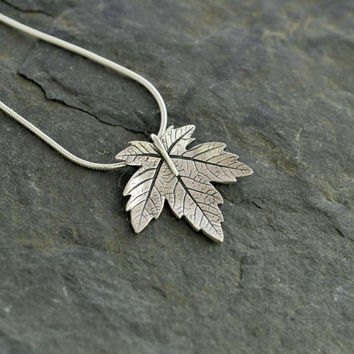 Silver Sycamore Leaf Pendant   Handmade recycled fine silver jewellery   pmc silver clay necklace
