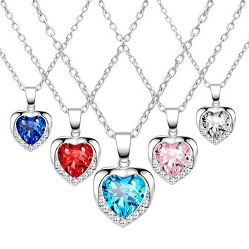 2019 Fashion Crystal Heart Pendant Necklace Hot Ladies Heart Link Chain Cute Zinc Alloy Women Gift Choker Collares 5 Colors