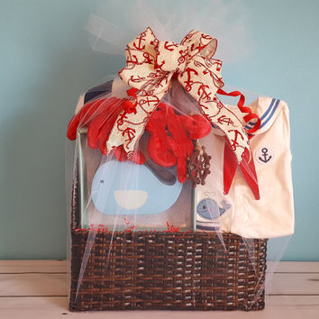 Sailing On The Sea Gift Basket - Unique Baby Shower Gift - Baby Shower Gift Basket - Nautical Gift Basket