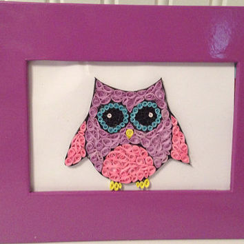 Owl decor, nursery decor, owl framed quilling, owl quilling, handmade decor, quilling art, paper filigree, colorful owl, girl bedroom