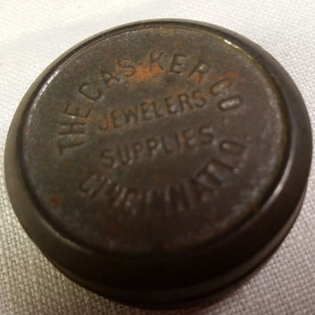 Casker Co Jewelers Supplies Cincinnati, OH Miniature Tin Box Small Pill Box Patina Mini Box Container Holder The Casker Company Advertising