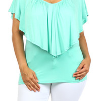 Plus Size Mint Layered Top